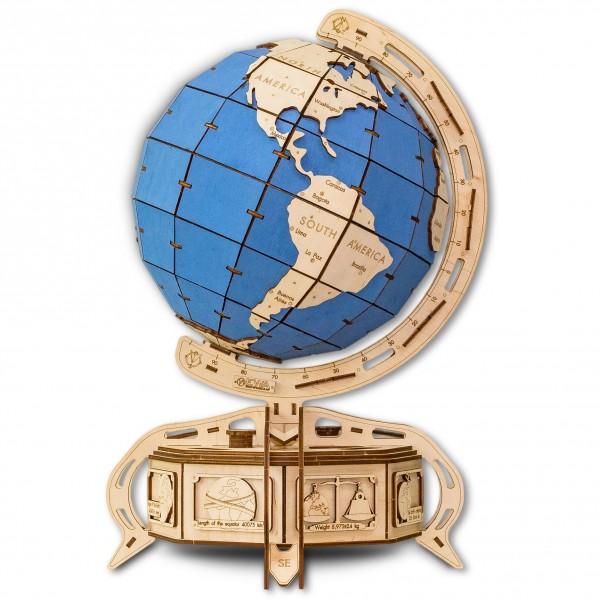 Eco Wood Art: Globe (blau)